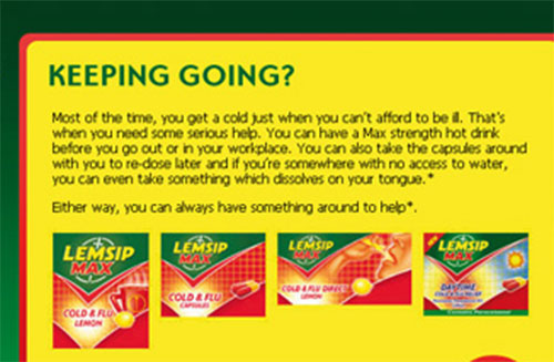 Marketing literature for the cold and flu remedy Lemsip