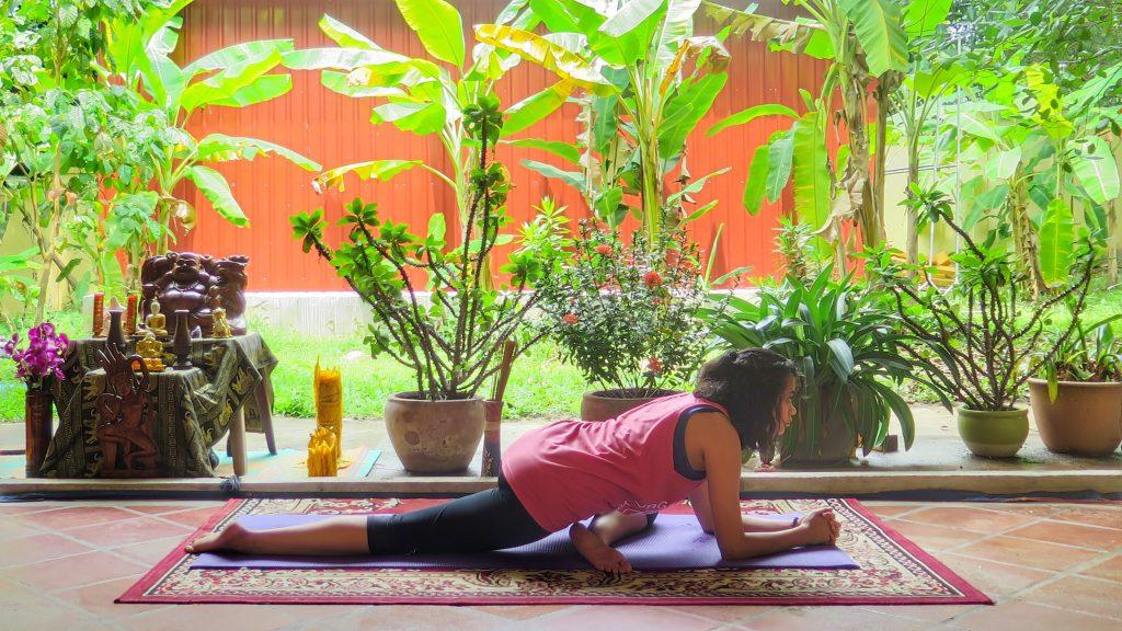 Pigeon Pose in a yoga studio
